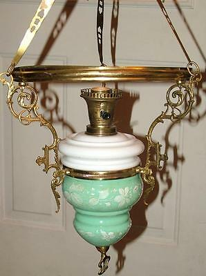 Antique Victorian Hand Painted Green Milk Glass Hanging Parlor Lamp Lantern