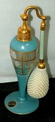 Art Deco 1920's DeVilbiss Ormolu HP Gold & Blue Glass Perfume Atomizer Bottle