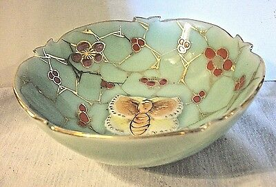 Chinese Marked Celadon Porcelain Butterfly Bowl Signed Very Pretty