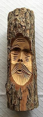 Vintage Old Bearded Man Carved Out Of A Wooden Wood Tree Limb Log