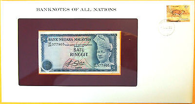 Malaysia 1976 - 1 Ringgit - Uncirculated Banknote enclosed in stamped envelope