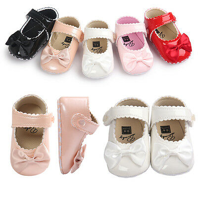Newborn Baby Girls Bow Anti-slip Leather Crib Shoes Moccasin Soft Sole Prewalker