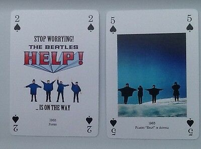 The Beatles 2 Single Playing Cards From Movie HELP. New