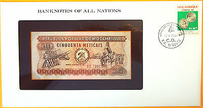 Mozambique 1980 - 50 Meticais Uncirculated Banknote enclosed in stamped envelope