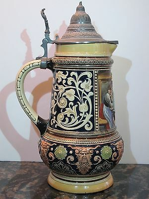 Antique 2L German Beer Stein by Marzi & Remy Mold #1509 - Mint