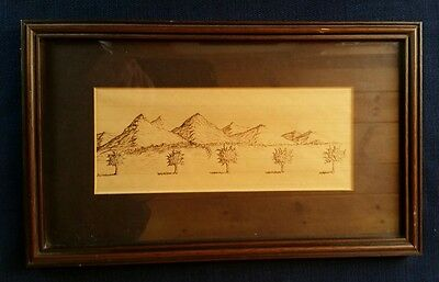 Vintage Framed Drawing Pen Ink on Lined School Paper Mountains Trees Orchard