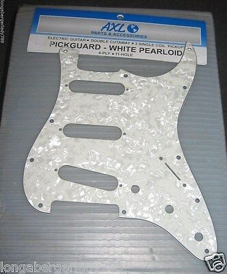 White Pearloid 3 Ply Black Electric Guitar Pickguard For Stratocaster Parts