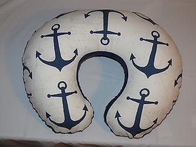 Nursing Pillow  Cover, Boppy SlipCover, Navy Anchor, Navy Minky
