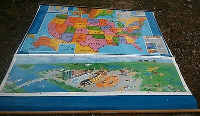 Cram's vintage pull down map of United States