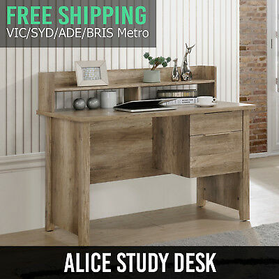 Study Desk MDF Oak Two Drawers Metal Handle Metal Slide Rail Wooden Leg Alice