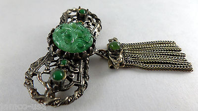 """MOM's 2 1/4"""" CARVED GREEN JADE BRASS GILT Brooch, CHINESE EXPORT Early 1970's"""