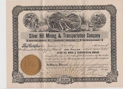 Silver Hill Mining & Transportation Company 125 Shares Stock Certificate 1913