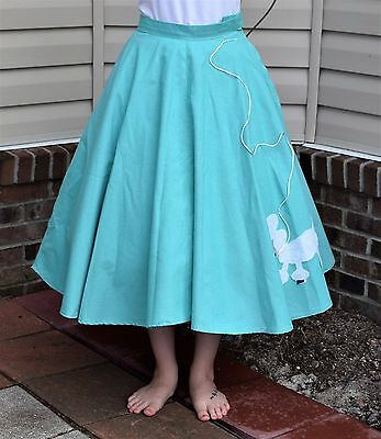 """Vintage 50's Repro Green Cotton Rockabilly Swing Poodle Skirt 160"""" - Size Small"""