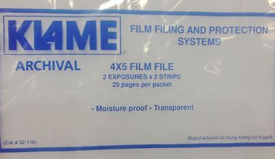 Klame Archival - 4x5 Film File Negative Preservers - 25Pack  -Buy1 Get1 Free!