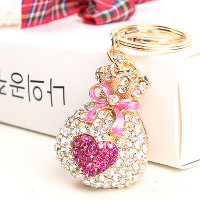 Purse Money Bag Butterfly Heart Lovely New Fashion Rhinestone Crystal KeyChain