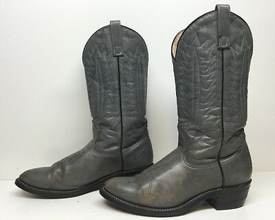 Vtg Mens Unbranded Cowboy Leather Gray Boots Size 9.5 C