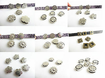 10 Silver/Bronze Flower Heart Beads Slider Spacers For 10*2mm Flat Leather Cord