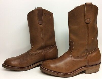 Vtg Mens Red Wing Work Leather Brown Boots Size 9 3E