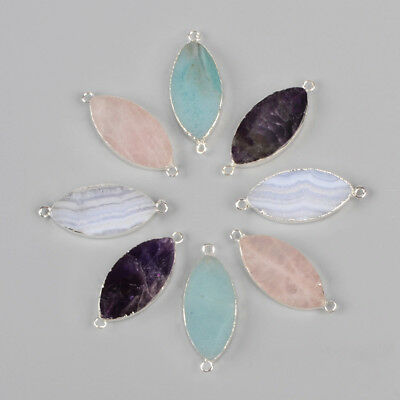 5Pcs 925 Sterling Silver Marquise Connector, Amethyst Quartz Amazonite BSS106