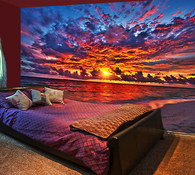 3D Orange Sunset River Wall Paper wall Print Decal Wall Deco Indoor wall Mural