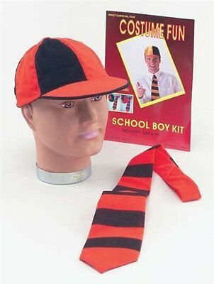 Fancy Dress School Boy Dennis The Menace Red or Yellow Set Hat And Tie