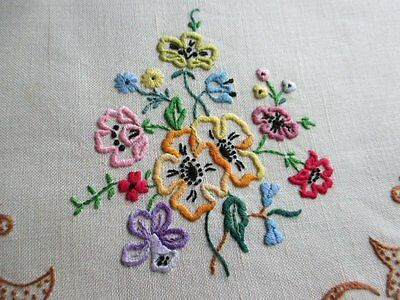 Vintage Tray Cloth-Hand Embroidered Flowers - Oval
