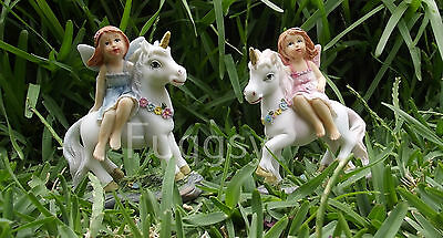 Set of 2 Unicorn and Fairy Friends Ornament Figurine BLUE PINK Fairies 10cm NEW