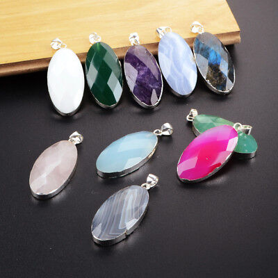5Pcs 925 Sterling Silver Oval Faceted Pendant, Multi-Kind Stone NEW HOT BSS148