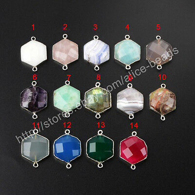 5Pcs 925 Sterling Silver Hexagon Faceted Connector, Multi-Kind Stone NEW BSS153