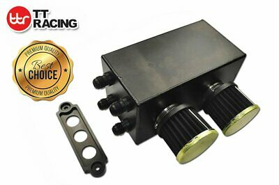 For Honda Civic Acura Integra 10AN 4Port Pro Series Oil Catch Can Breather Black
