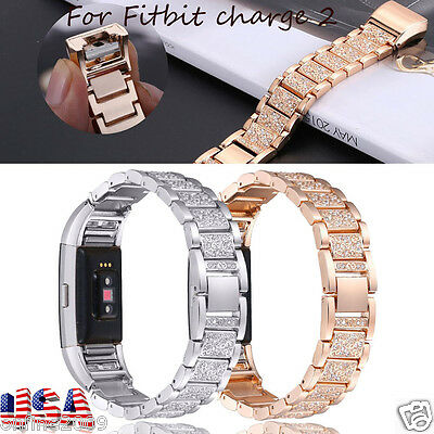 Stainless Steel Crystal Watch Band Wrist Strap Bracelet For Fitbit charge 2 NEW