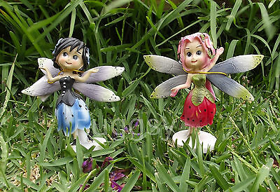 Set of 2 Flower Fairies Figurines Fairy Garden Friends Red and Blue Ornament NEW