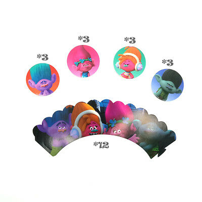 24pcs/lot Trolls Theme Party Cupcake Decoration (12pcs Wrappers & 12pcs Topper)