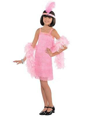 Girls Red 1920s Flapper Charleston Dancer Gatsby Fancy Dress Costume Outfit 5-12