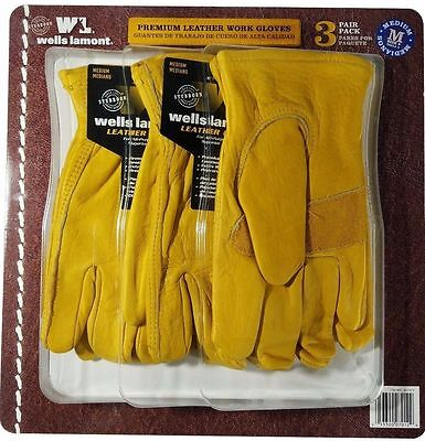 Wells Lamont Premium Cowhide Leather Work Gloves 3 Pair Pack - Size Medium
