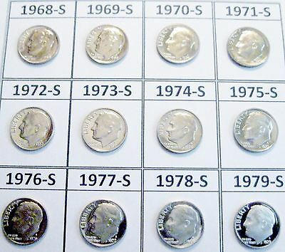 First 12 San Francisco Minted Clad Gem Proof Roosevelt Dimes 1968 to 1979