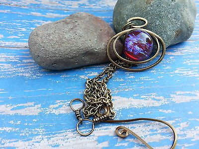 Fire Opal Necklace Floating on Antiqued Gold Spring Gifts Eye Catching Collect
