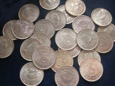 Mauritius 2 Cents 1969 BU LOT OF 25 BU coins