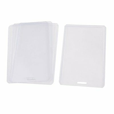 Clear Plastic Vertical Business ID Badge Card Holder 4 Pcs WD