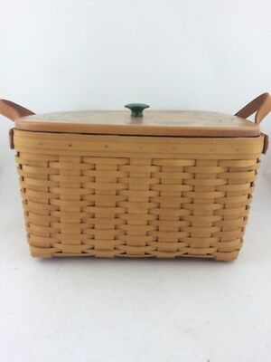 Longaberger 2000 Small Wash Day Basket w Protector Painted Lid