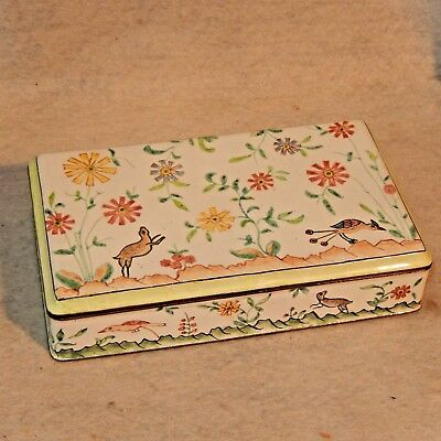 Large Vintage Chinese Canton Enamel Hand Painted Box ANIMALS Flowers Brass White