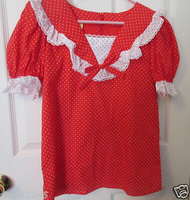 Vtg Square Line Dance Womens Ruffled Red Blouse Partners Please  Malco Modes S