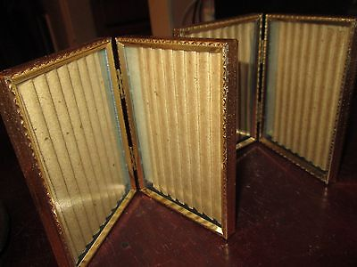 "Vintage Metal Bi-Fold Picture Frame with Original Glass 3 1/2"" x 5"