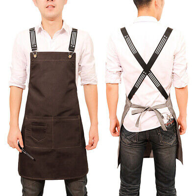 New Chef Denim Apron Men Women Workwear Barber Cafe Barista Apron With Pockets