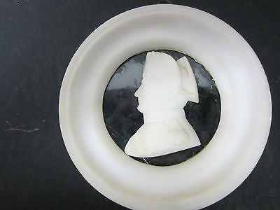Fabulous Antique Round Marble Plaque of Napoleon? Washington? Side Veiw Bust