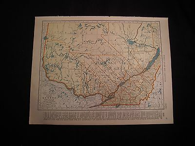 Vintage 1940 Color Map of Ontario or Quebec from Colliers World Atlas