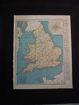 Vintage 1940 Color Map of England/Wales or Scotland from Colliers World Atlas