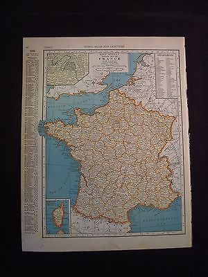 Vintage 1940 Color Map of France from Colliers World Atlas