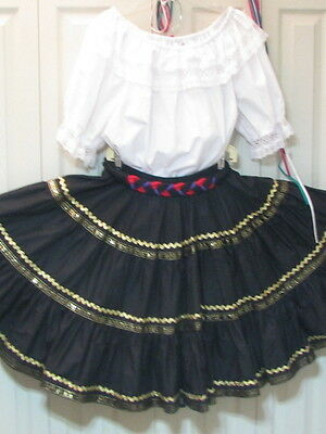 2554 White Blouse with Black & Gold Trim Skirt & Belt for Round Dance, XL
