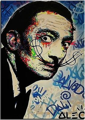 """Alec Monopoly Banksy Oil painting on Canvas Abstract art Salvador Dali 24x36"""""""